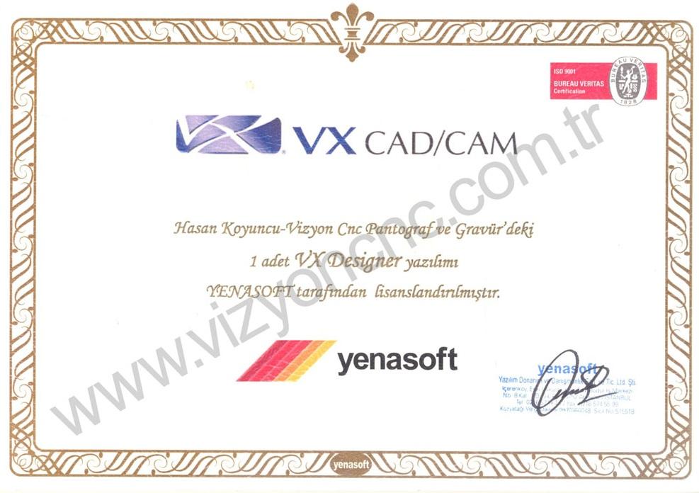 VX Cad / Cam Sertifikası